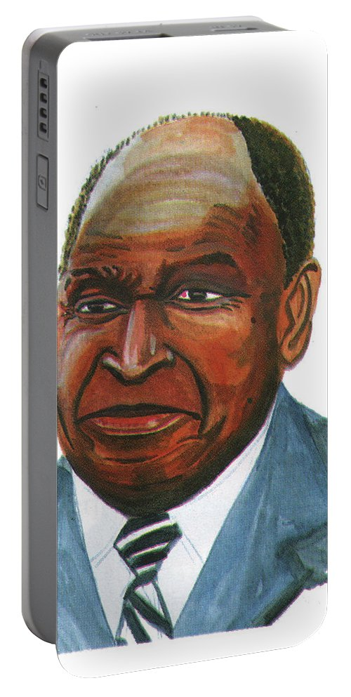 Portraits Portable Battery Charger featuring the painting Felix Houphouet Boigny by Emmanuel Baliyanga