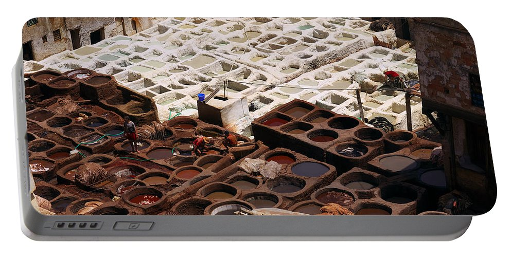 Marocco Portable Battery Charger featuring the photograph Fez Tannery by Ivan Slosar