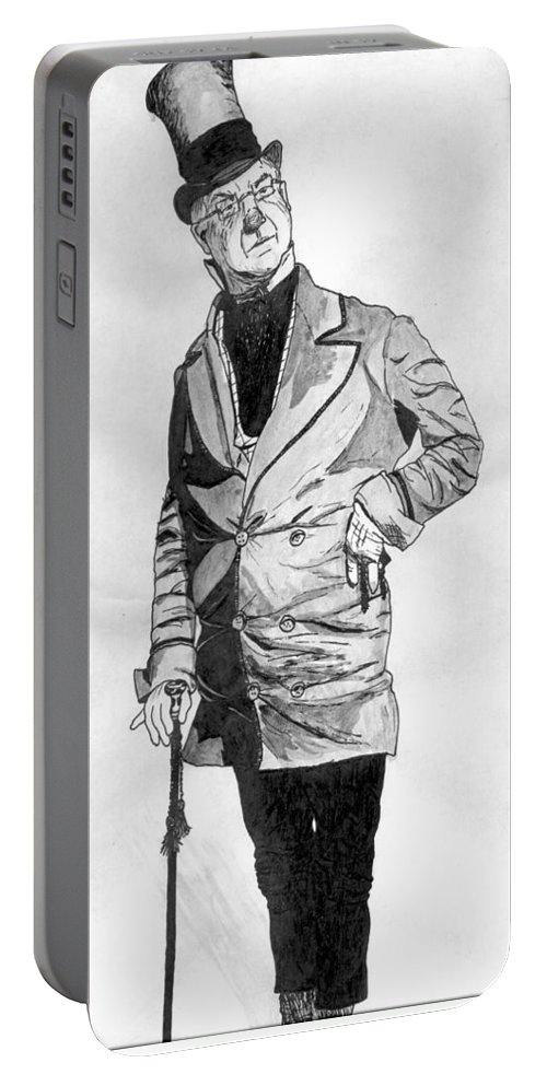 Portrait Portable Battery Charger featuring the drawing Fields As The Imperishable Wilkins Micawber by William Beyer