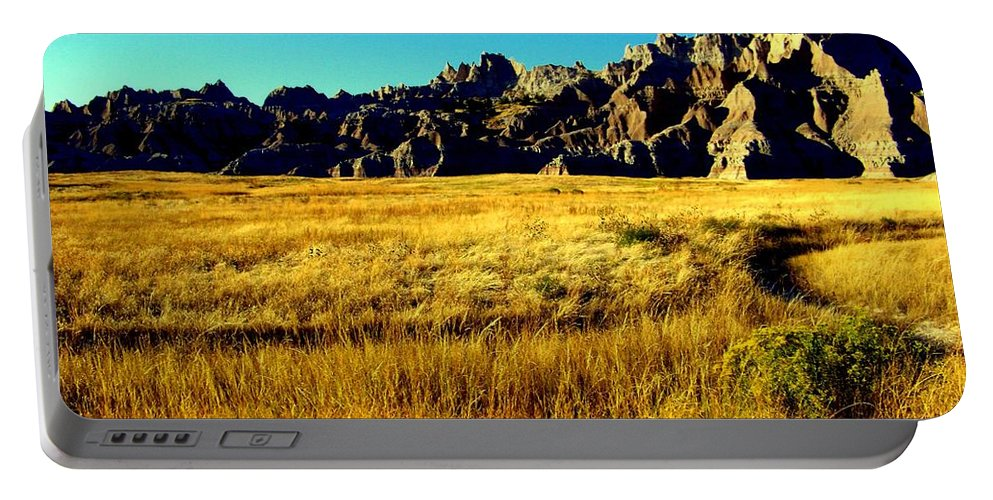 Landscapes Portable Battery Charger featuring the photograph Fields Of Gold by Karen Wiles