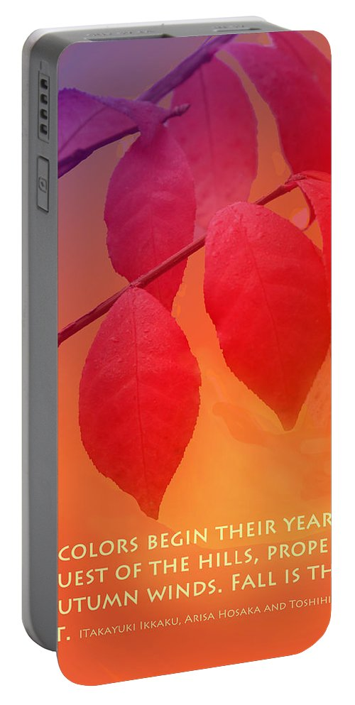 Fall Portable Battery Charger featuring the photograph Fiery Colors by Ian MacDonald