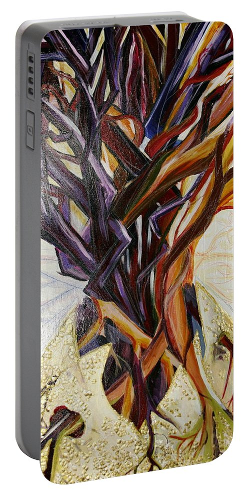 Apple Portable Battery Charger featuring the painting Fifth World Three by Kate Fortin