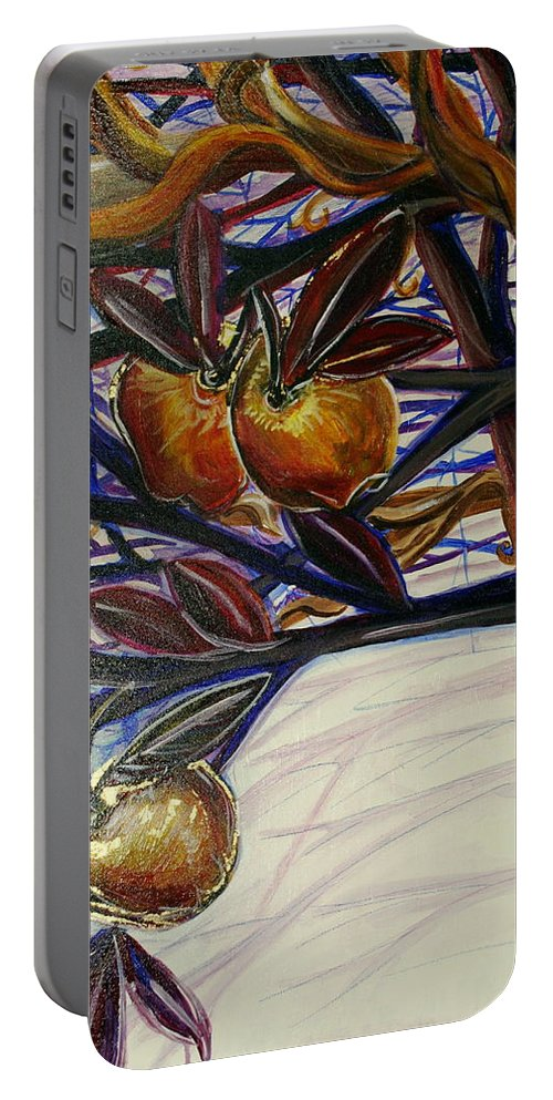 Tree Portable Battery Charger featuring the painting Fifth World Two by Kate Fortin