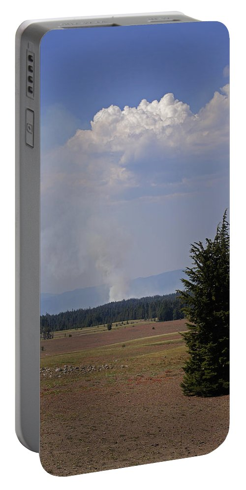 Fire Portable Battery Charger featuring the photograph Fire In The Cascades by Mick Anderson