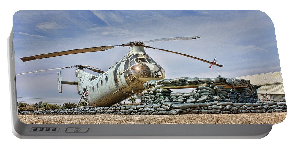 Piasecki H-21 Workhorse Shawnee Portable Battery Charger featuring the photograph Firebase Charlie Romeo 2 by Tommy Anderson