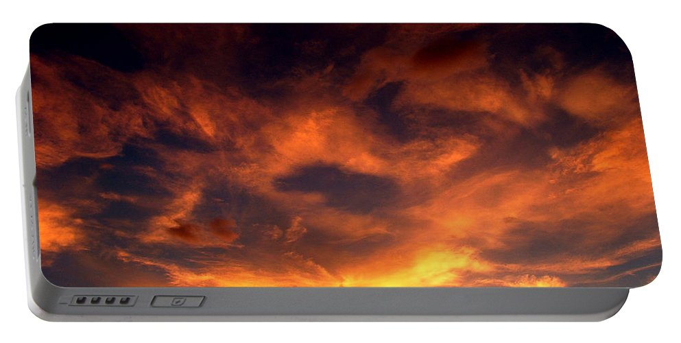Sunset Portable Battery Charger featuring the photograph Fireclouds by David Weeks