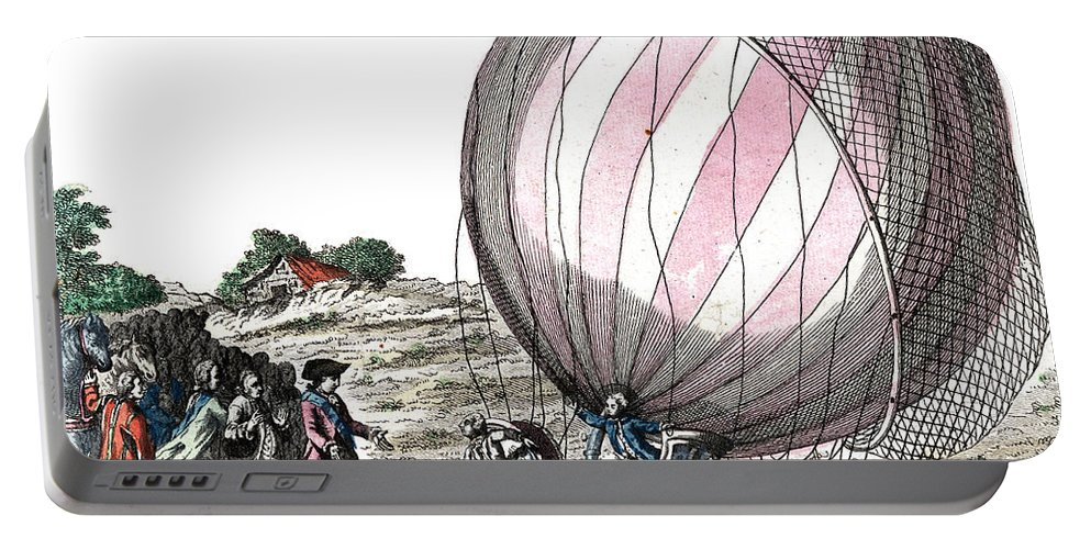 Technology Portable Battery Charger featuring the photograph First Manned Hydrogen Balloon Flight by Photo Researchers