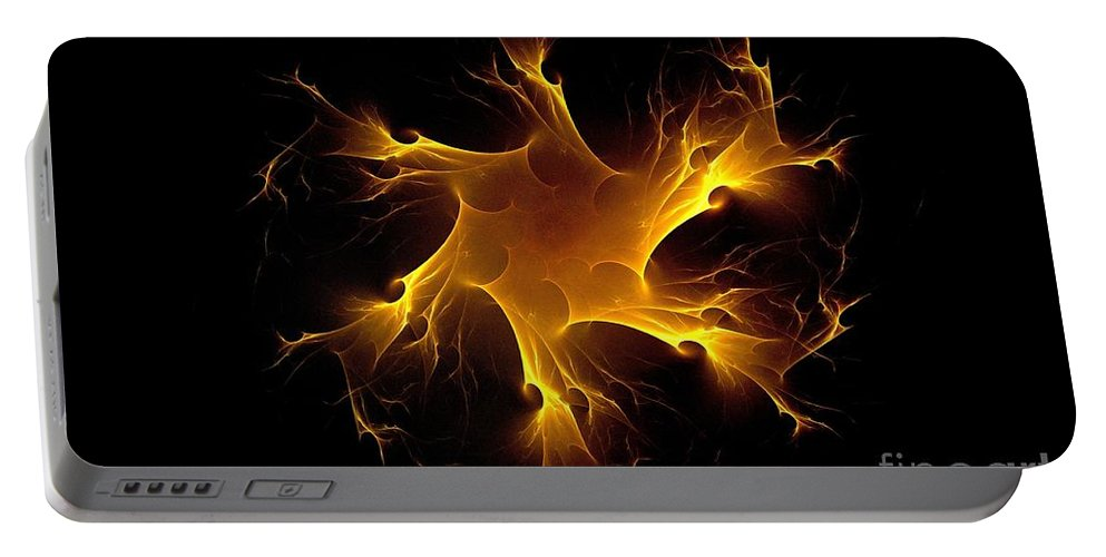 Flame Wheel Portable Battery Charger featuring the digital art Flame Wheel by Klara Acel
