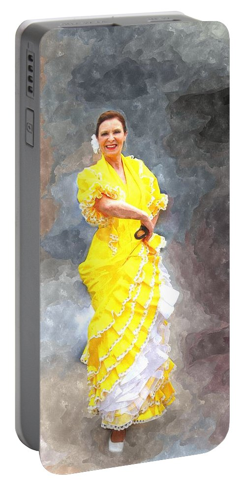 Flamenco Portable Battery Charger featuring the photograph Flamenco Dancer In Yellow by Davandra Cribbie