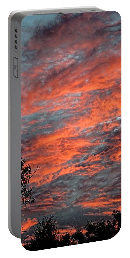 Sunset Portable Battery Charger featuring the photograph Flaming Sky by Mark Sellers