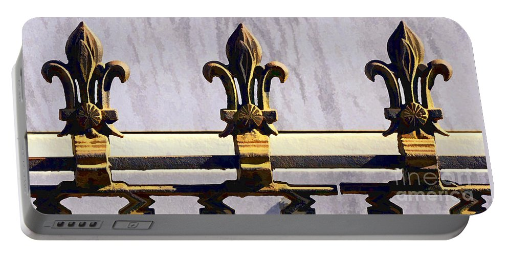Fleur Portable Battery Charger featuring the photograph Fleur De Lis Painted by Kathleen K Parker