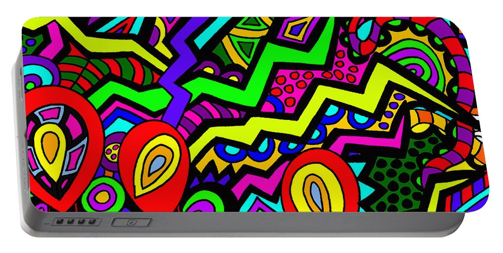 Migraines Portable Battery Charger featuring the painting Flicker by Karen Elzinga