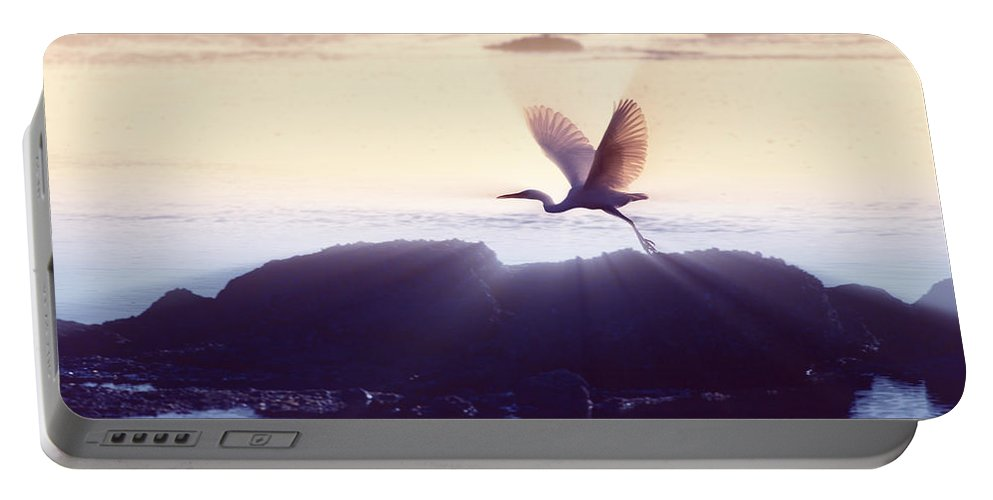 Flight Portable Battery Charger featuring the photograph Flight Of The Egret V1 by Douglas Barnard