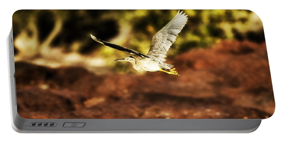 Flight Portable Battery Charger featuring the photograph Flight Of The Heron by Douglas Barnard