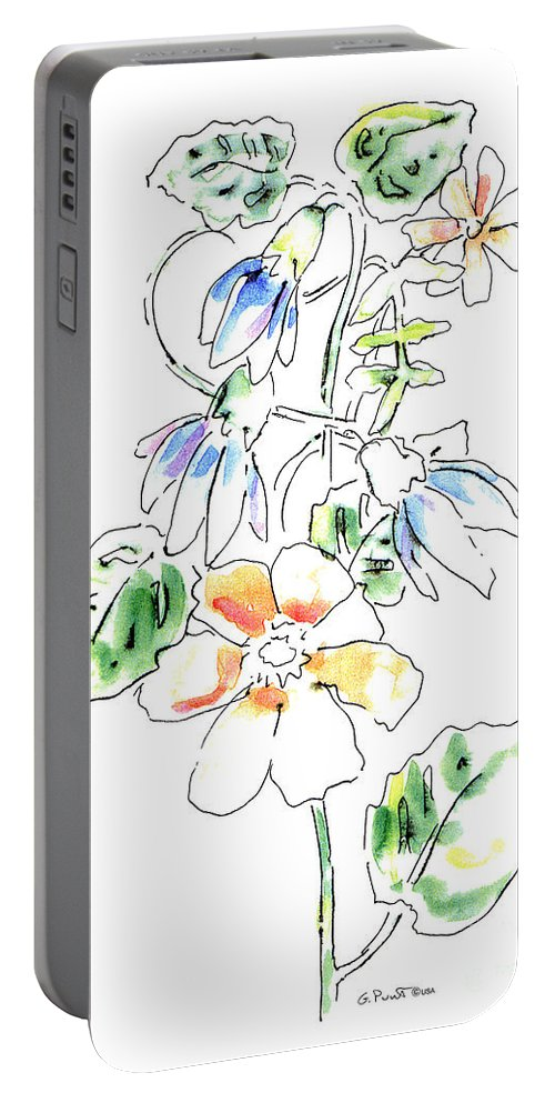 Watercolor Paintings Portable Battery Charger featuring the painting Floral Watercolor Paintings 4 by Gordon Punt