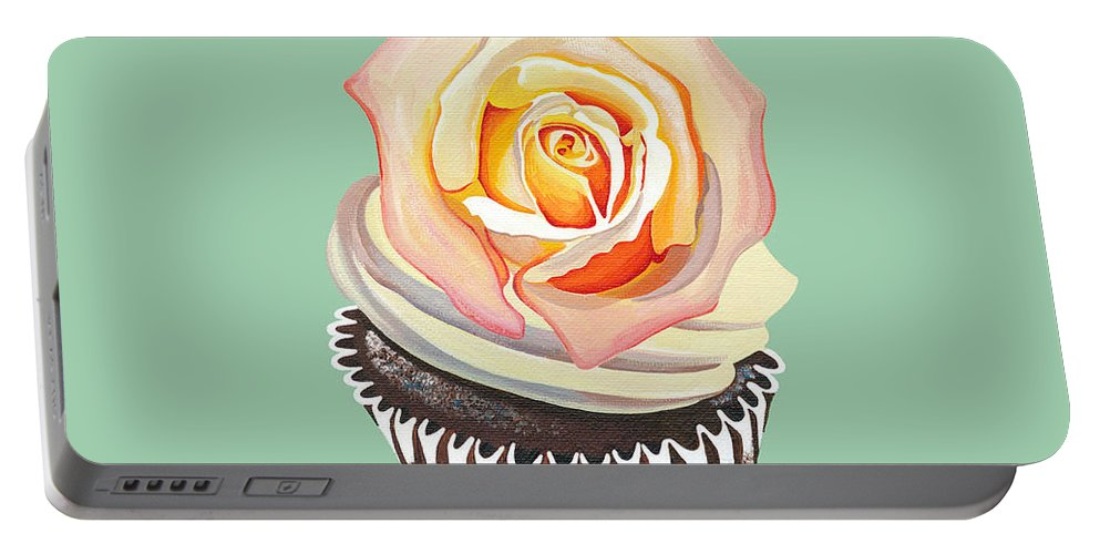 Cupcake Portable Battery Charger featuring the painting Florange Bloom by Shirley Radebach