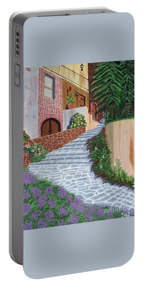 Florence Italy Apartments Portable Battery Charger featuring the painting Florence Italy Apartments by Don Monahan