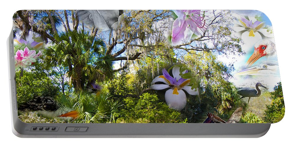 Florida Portable Battery Charger featuring the digital art Florida Collage by Betsy Knapp