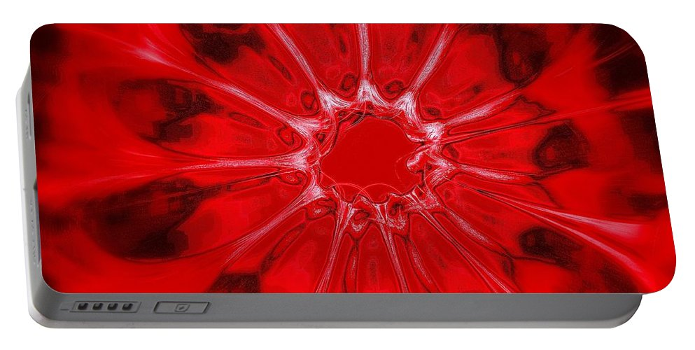 Red Flower Portable Battery Charger featuring the digital art Flower-series-4 by Klara Acel
