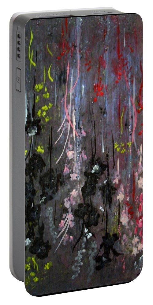 Flowers Portable Battery Charger featuring the painting Flower Shower by Charles TheArtBaran