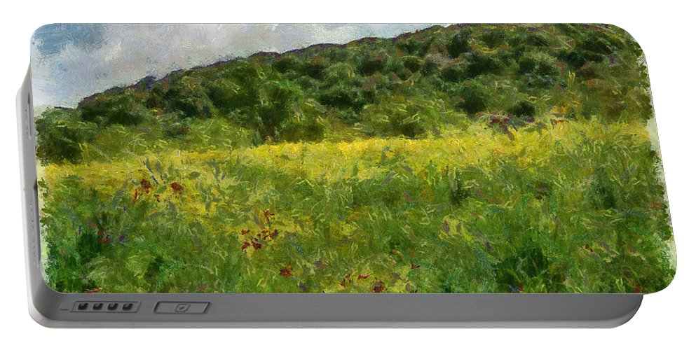 Meadow Portable Battery Charger featuring the photograph Flowering Fields by Michael Goyberg