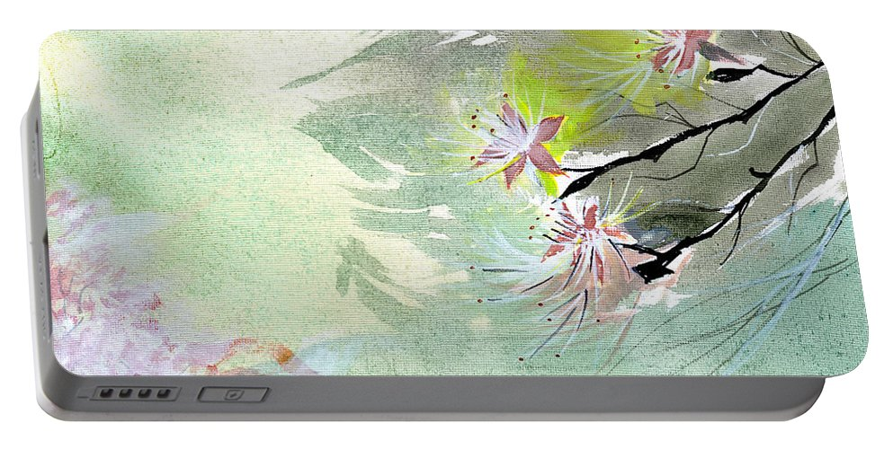 Floral Portable Battery Charger featuring the painting Flowers 3 by Anil Nene