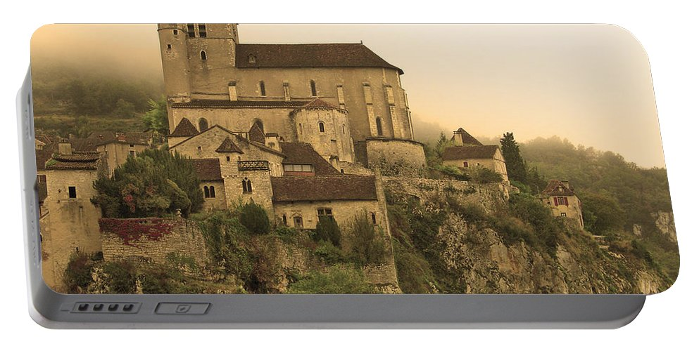 St Cirq Portable Battery Charger featuring the photograph Fog Descending On St Cirq Lapopie In Sepia by Greg Matchick