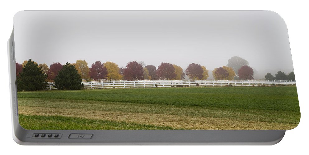 Fog Portable Battery Charger featuring the photograph Foggy Fall by Joel Witmeyer
