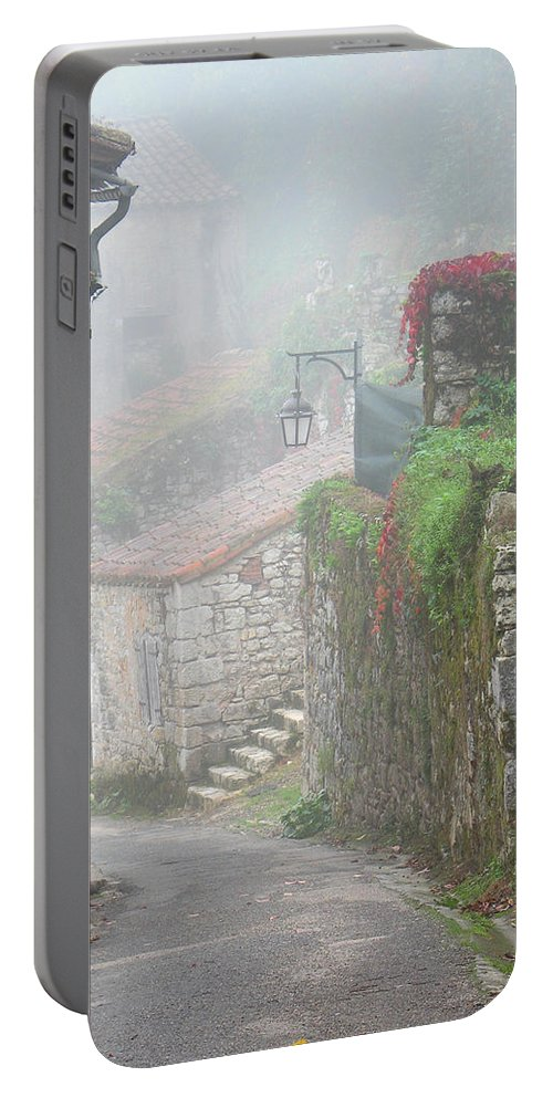Fog Portable Battery Charger featuring the photograph Foggy Lane In St Cirq by Greg Matchick
