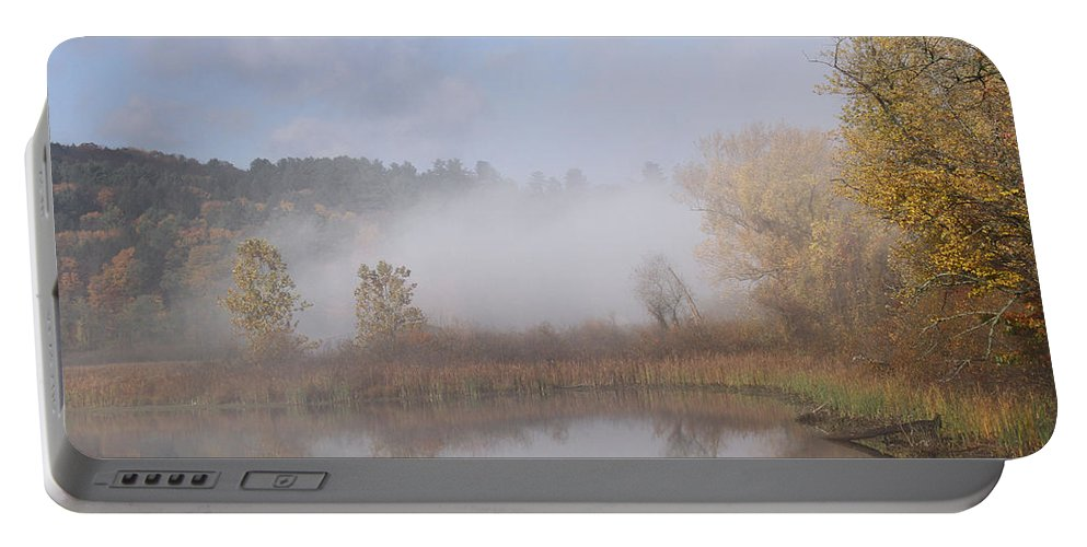 Fog Portable Battery Charger featuring the photograph Foggy Morning by Doris Potter