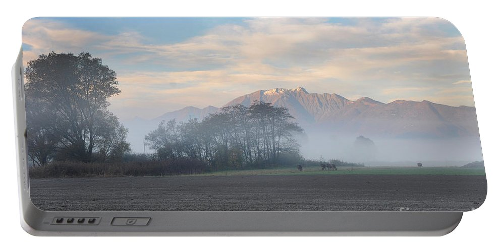Fog Portable Battery Charger featuring the photograph Foggy Morning by Mats Silvan
