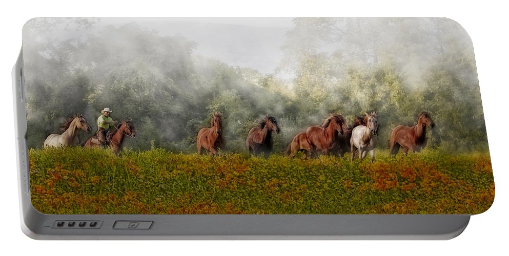 Equestrian Portable Battery Charger featuring the photograph Foggy Morning by Susan Candelario