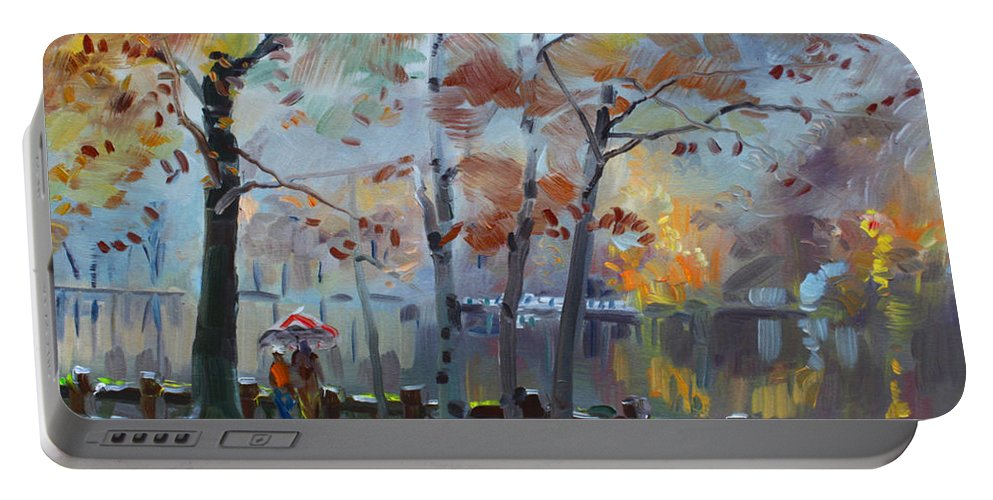 Lake Portable Battery Charger featuring the painting Foggy Rain By The Lake by Ylli Haruni