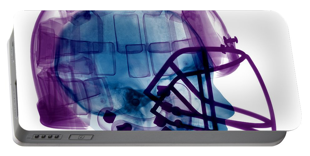 Football Helmet Portable Battery Charger featuring the photograph Football Helmet X-ray by Ted Kinsman
