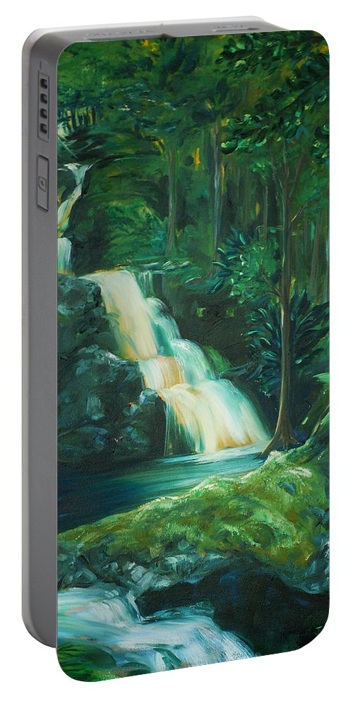 Forest Portable Battery Charger featuring the painting Forest Waterfall by Jennifer Christenson