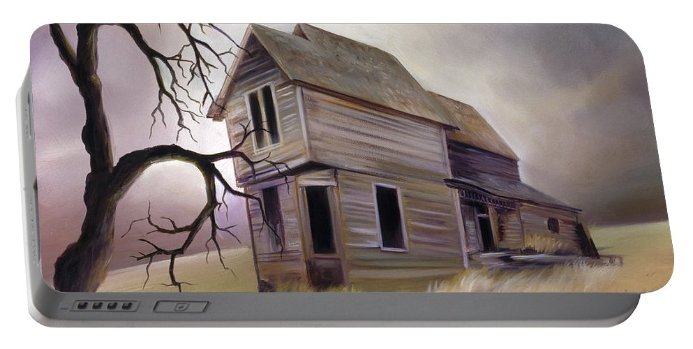 Haunted Portable Battery Charger featuring the painting Forgotten But Not Gone by James Christopher Hill