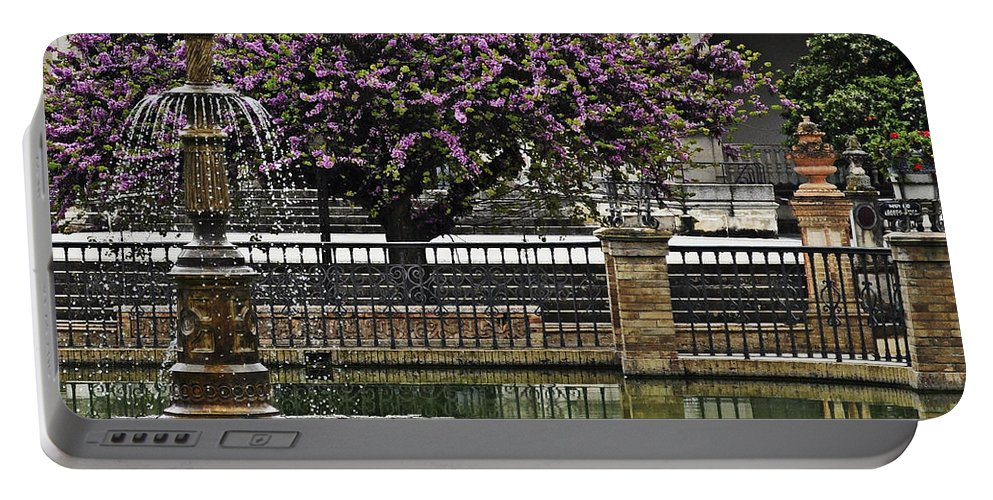 Fountain Portable Battery Charger featuring the photograph Fountain And Tree by Mary Machare