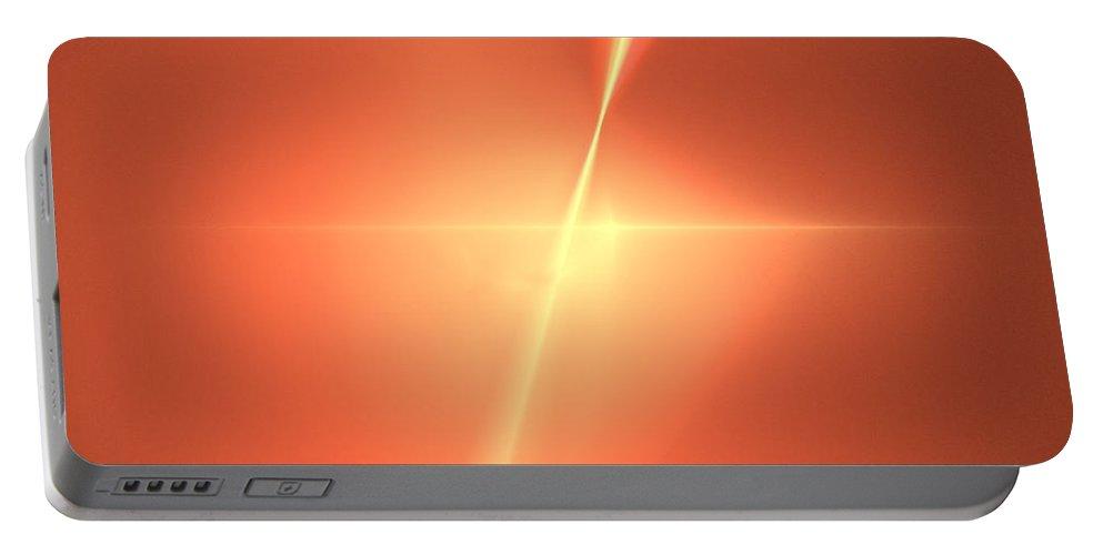 Fractal Portable Battery Charger featuring the digital art Fractal Orange Star by Henrik Lehnerer