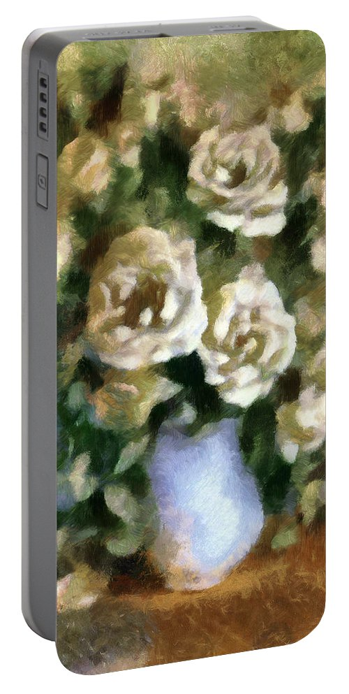 Roses Portable Battery Charger featuring the mixed media Fragrant Roses by Georgiana Romanovna