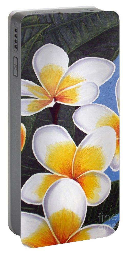Oil Painting Portable Battery Charger featuring the painting Frangipani I by Tatjana Popovska