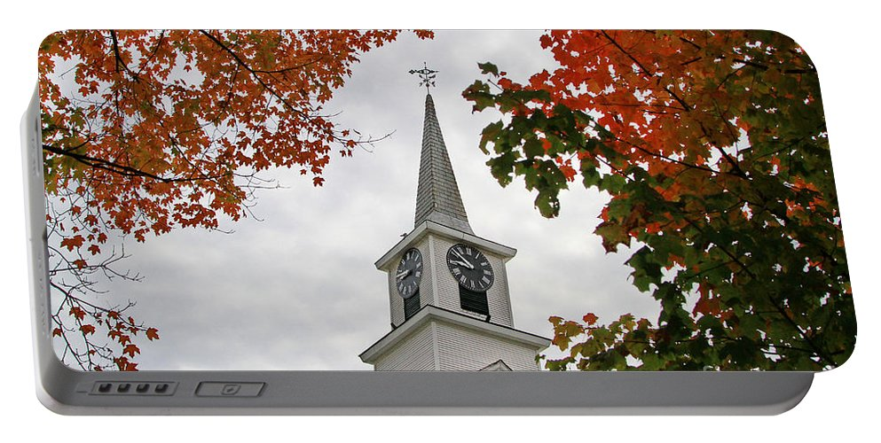 Autumn Portable Battery Charger featuring the photograph Franklin Steeple by Deborah Benoit