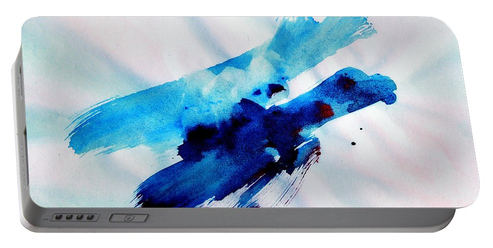 Abstract Birds Portable Battery Charger featuring the painting Freedom Flight by Hanne Lore Koehler