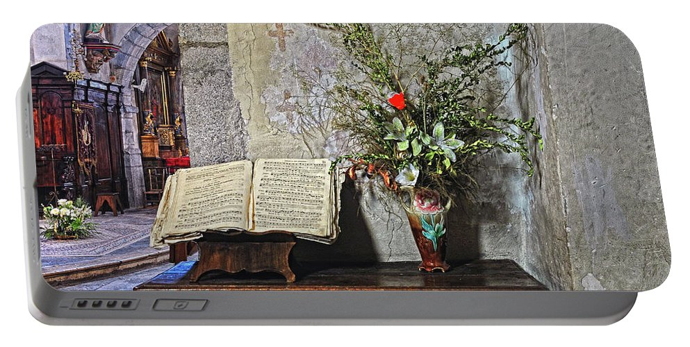Church Portable Battery Charger featuring the photograph French Church Decorations by Dave Mills