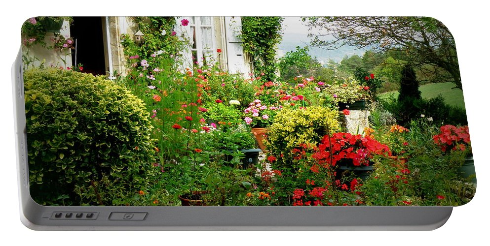 Garden Portable Battery Charger featuring the photograph French Cottage Garden by Lainie Wrightson