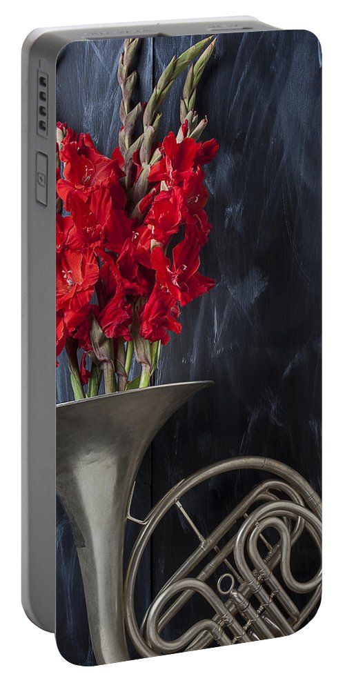 French Horn Portable Battery Charger featuring the photograph French Horn With Gladiolus by Garry Gay
