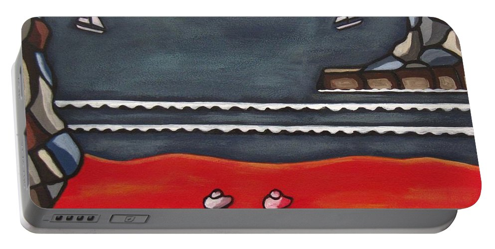 Beach Scenes Portable Battery Charger featuring the painting Friendship by Sandra Marie Adams