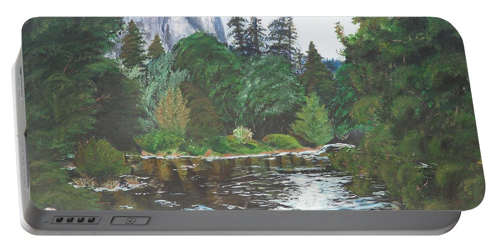 Yosemite Portable Battery Charger featuring the painting Frog's Eye View by Travis Day