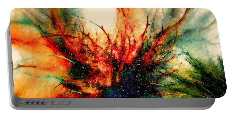 Fractal Portable Battery Charger featuring the digital art Frosen Flower by Klara Acel