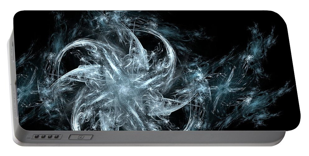 Grey Portable Battery Charger featuring the digital art Frozen by Ricky Barnard