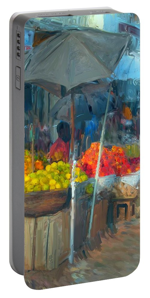Market Umbrellas Portable Battery Charger featuring the painting Fruit Market by Usha Shantharam